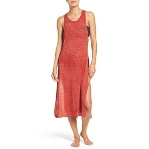 Leith Burnout Jersey Cover-Up Tank Maxi Dress Red